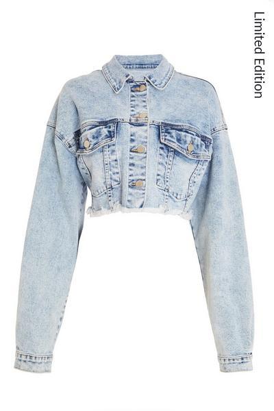 Light Blue Cropped Denim Jacket